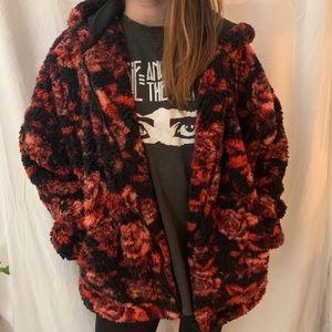 UO Rose printed fur coat